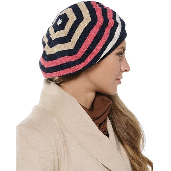 Women's multi color woolen cap for winter season, striped beret