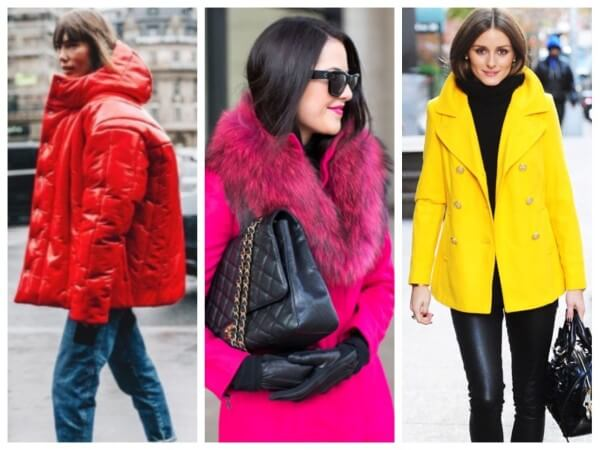 Celebrity Olivia Palermo yellow winter street style fashion with red and pink puffer jacket