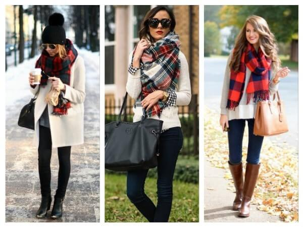 Checkered Scarf  Ways to Wear a Winter Hat & Scarves for Women