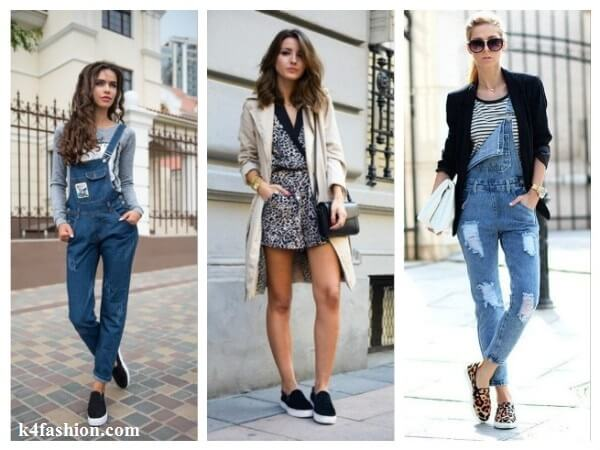 Overalls  Tips to Wear Slip On Shoes for Girls With Different Outfits