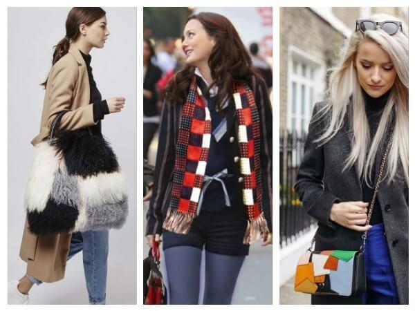 Women's patchwork muffler, black & white fur bag for casual look