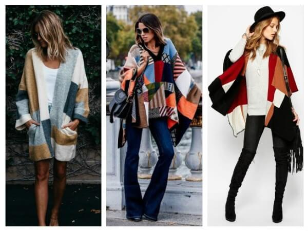 Women front open and closed patchwork poncho for any look