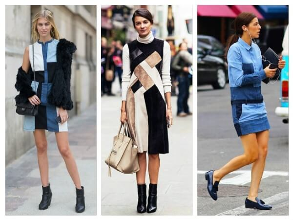 Patchwork on black and white, denim short dress combined with black high heels for women