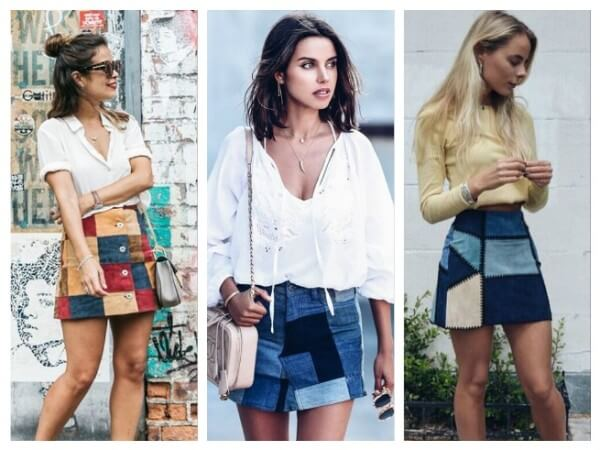 Women's casual summer outfit, patchwork denim skirt with white & cream shirt