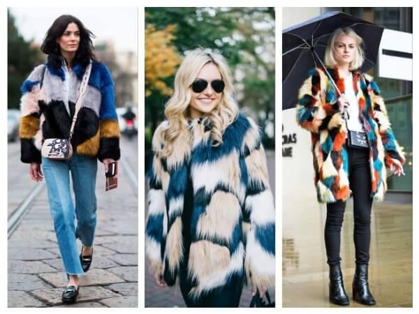 Women's multicolor open stitch design long sleeve faux fur coat for winter season