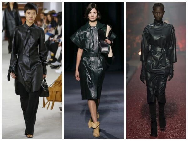 runway fashion for fall/winter black patent leather was teamed with a muted colour palette of beige and black tones footwear