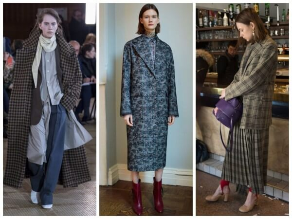 Women wool warm long check plaid trench outerwear jackets & coat for fall/winter