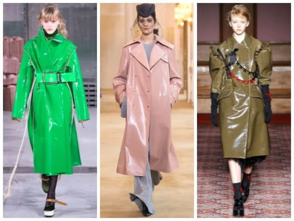 Glossy vinyl trench raincoat for women, rain fashion