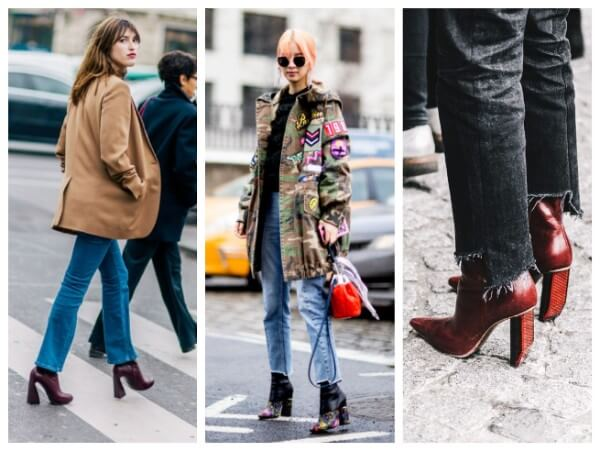 Unusual shoes trends at New York Fashion week fall paired with jackets and jeans
