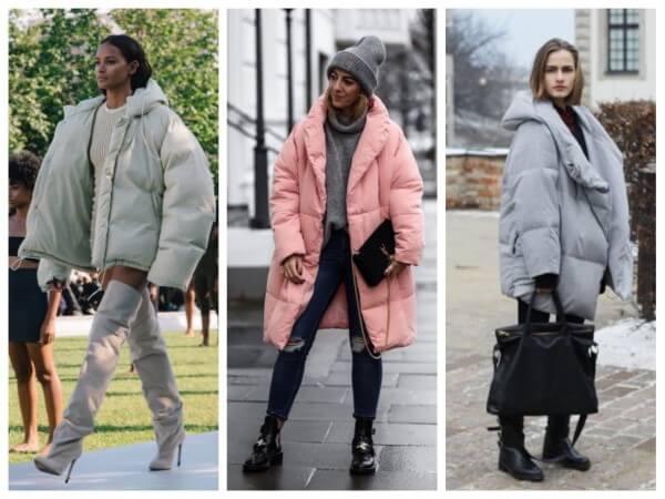 Women's light colored oversized down/puffer jackets for fall/winter
