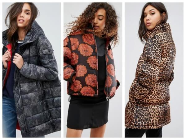 Women grey, brown & leopard print quilted down puffer jacket