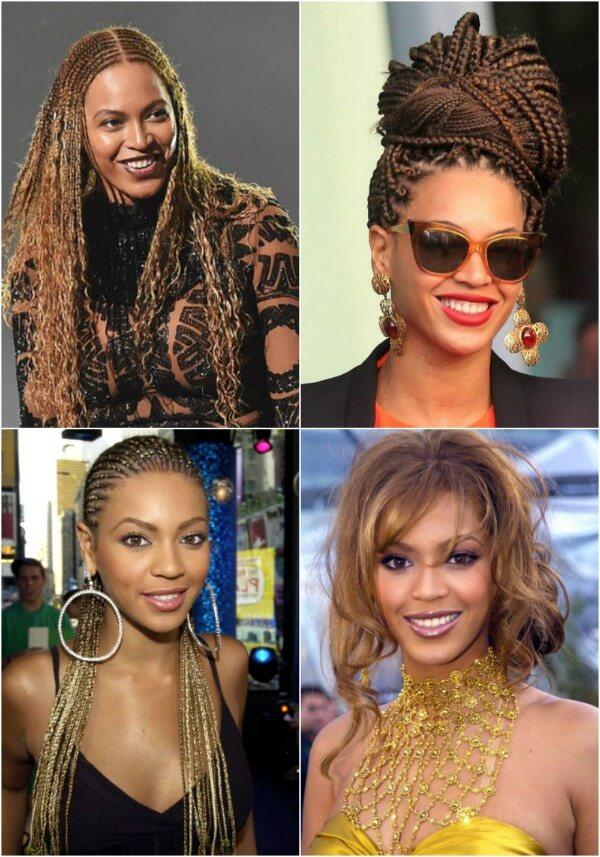 Beyonce elegant braids bun & free flowing twists hairstyle Beyonce's Hairstyles, Hair Cuts & Colors