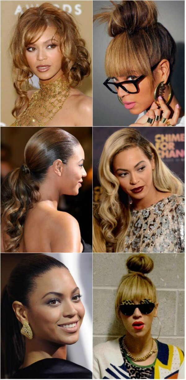 Beyonce classic upstyle multi-tonal hairstyle Beyonce's Hairstyles, Hair Cuts & Colors