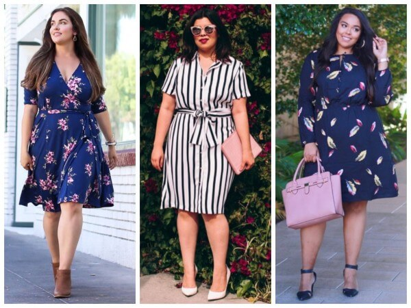 A line dresses with vertical stripes and floral pattern for plus size women
