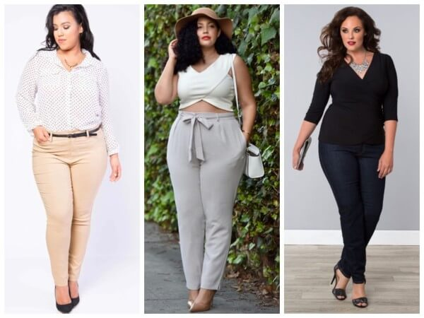Plus Size Casuals, high waisted pants with crop top and shirt combo
