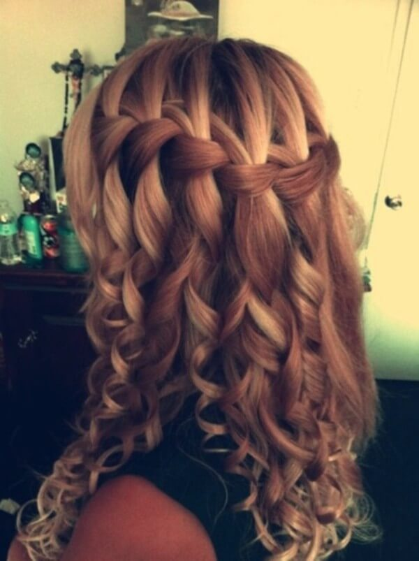 Braided Hairstyle Ideas: Waterfall With curled curls, this hairstyle is even more spectacular.
