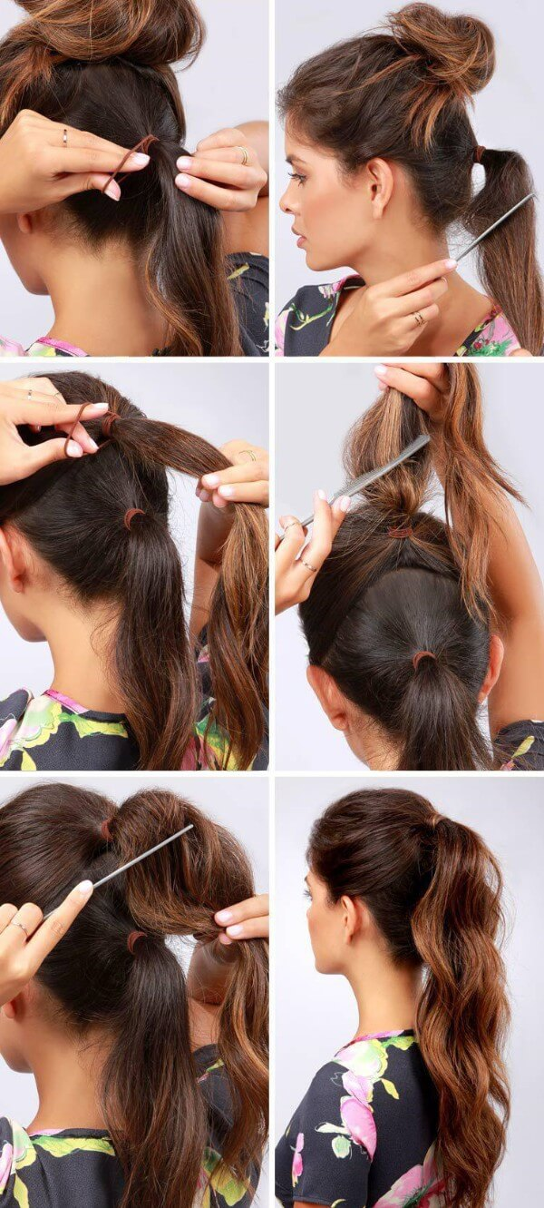 Hairstyles For Fine Hair: Tail hairstyle step by step tutorial