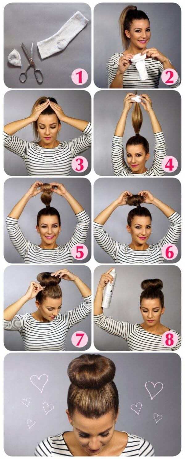 Bun hairstyle Step by Step Tutorial Easy Hairstyles for Fine Hairs to Make them Look Thicker