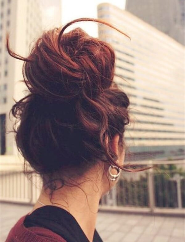 Bun hairstyle to make hair look thicker