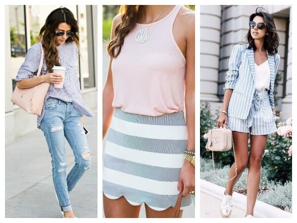 Women blue and white striped shorts shirt, skirt and suit for summer