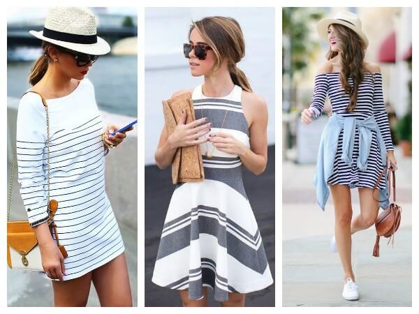 Women's summer striped dresses in casual style ideas