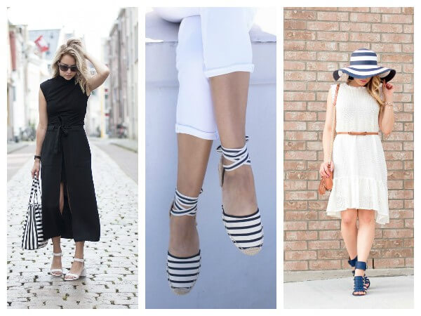 Black and white striped accessories like bags shoes and hat for summer