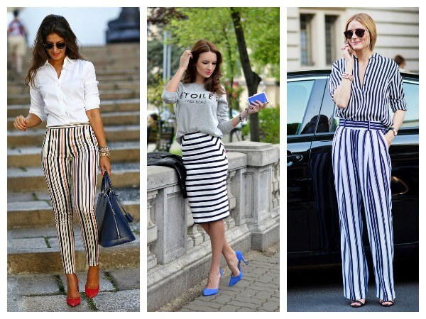 Striped pants with white top and striped shirt look even more stylish for women