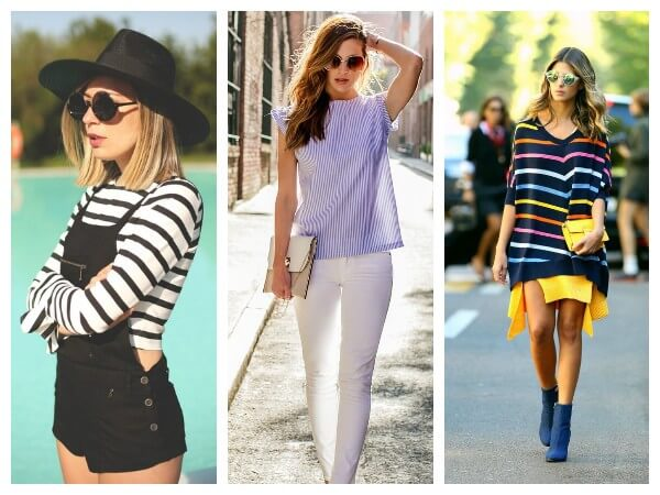 Black and white, blue and multi colored horizontal striped top and sweater trends
