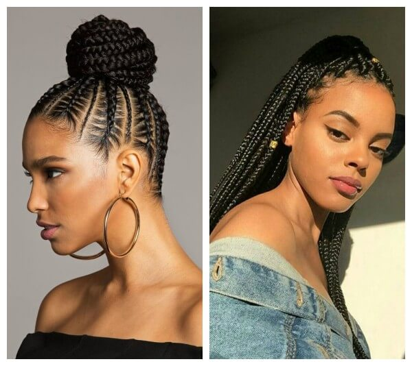 Beautiful & Fancy long thick cornrows braids hairstyles African pigtails and dreadlocks