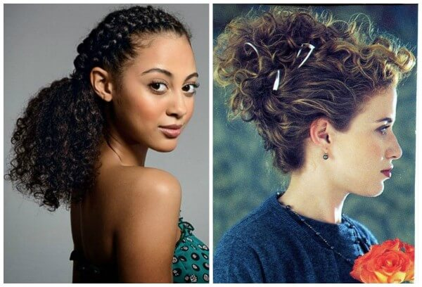 Natural hair down styles half up half down & messy bun curly hairstyle