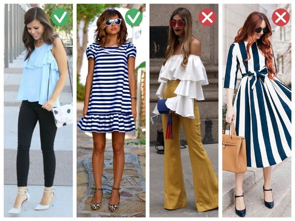 Ruffles, flounces, embroidery along with vertical stripes dresses for slim or skinny women