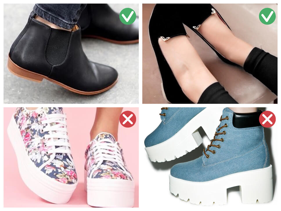 High boots, heel or platform, small heel or shoes for skinny girls