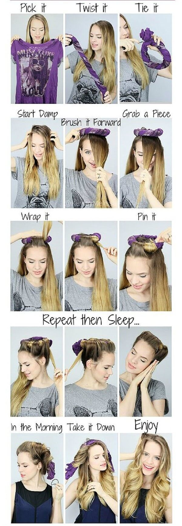 Trendy Crown Waves can be made using old t-shirt just wrap your hair overnight