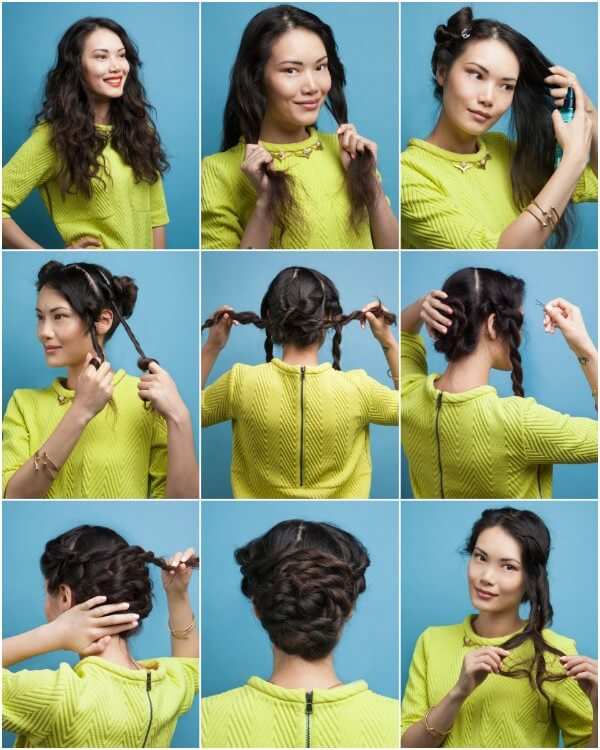 Easy curls at home, twist them towards the face then intertwined plaits to braid