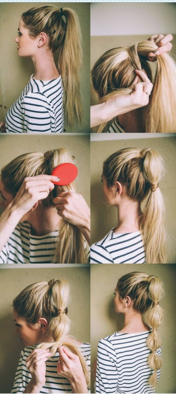 Let's Hide The Rubber Band Step By Step hairstyle for rainy day, striped top, long hair, Tutorial