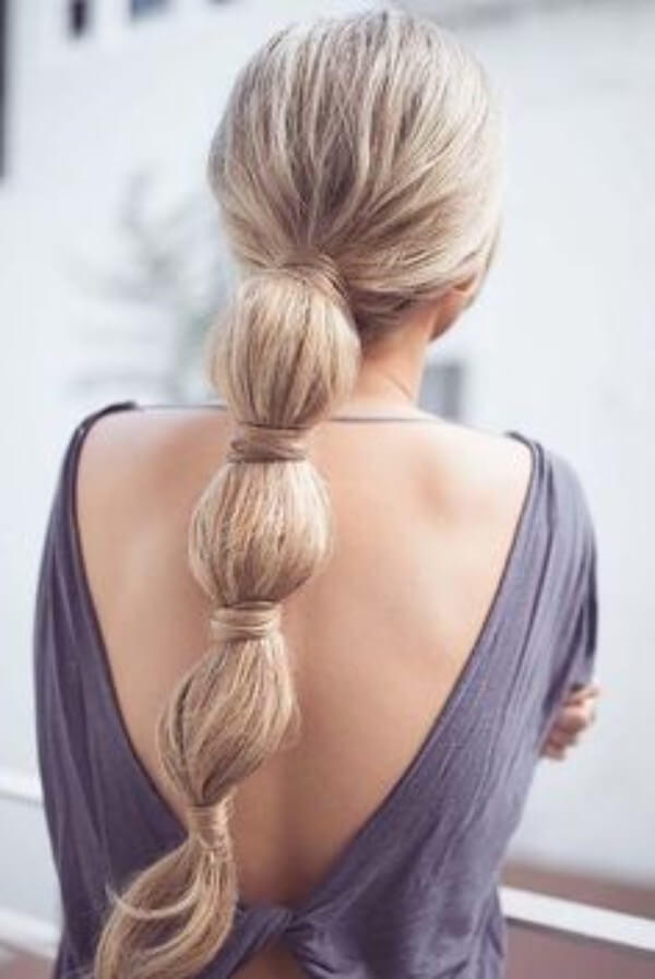 Princess Jasmine Inspired Bubble Braid Let's Hide The Rubber Band Hairstyle, long hair, backless dress