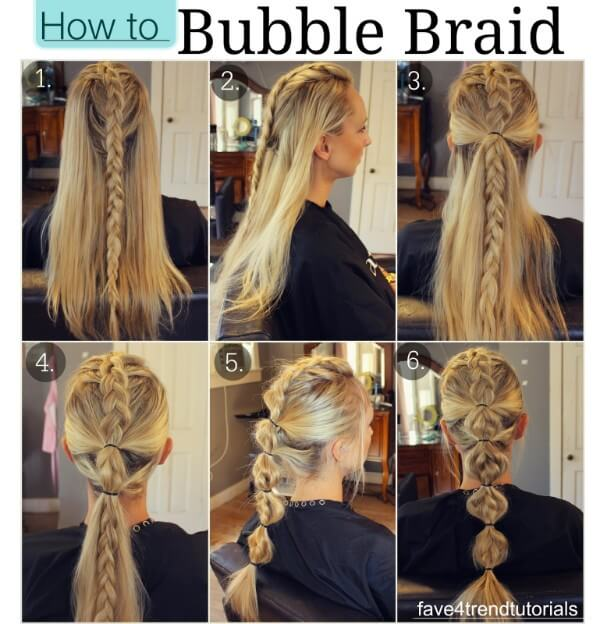 How To Bubble Braid Hairstyle, tutorial , long hair, wedding, party, black dress, easy, step by step