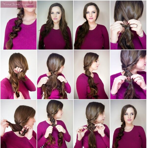 How To Bubble Braid Hairstyle, Step By Step tutorial, long hair, wedding, party, side braid