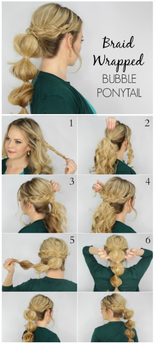 Make a tail in the style of Bubble Ponytail, Braid Wrapping Hairstyle, tutorial, long hair, wedding, party, black dress, easy