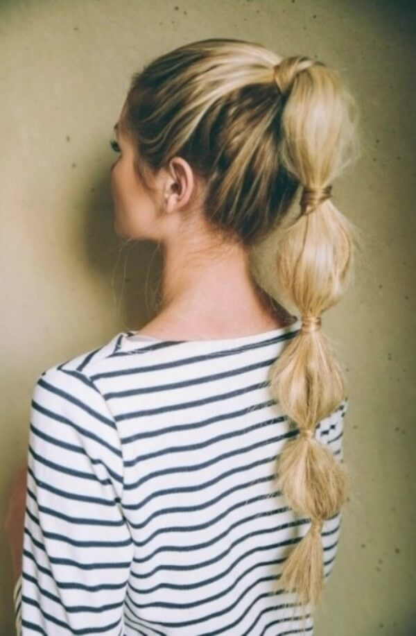 Bubble ponytail Hairstyle, long hair, striped top, easy, daily, messy