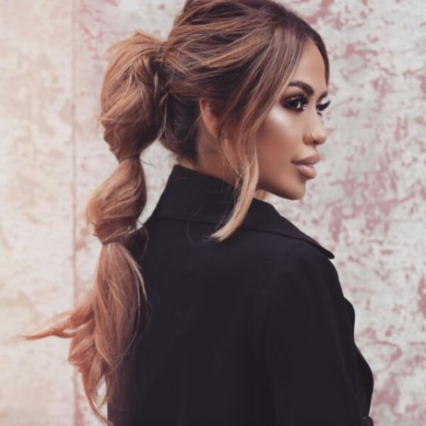 Making a soft ponytail Hairstyle, black coat, long hair, classy, party