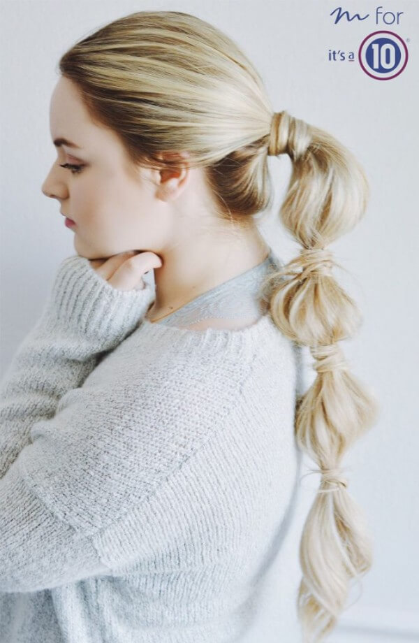 bubble pony tail, long hair, easy, messy, everyday, winter