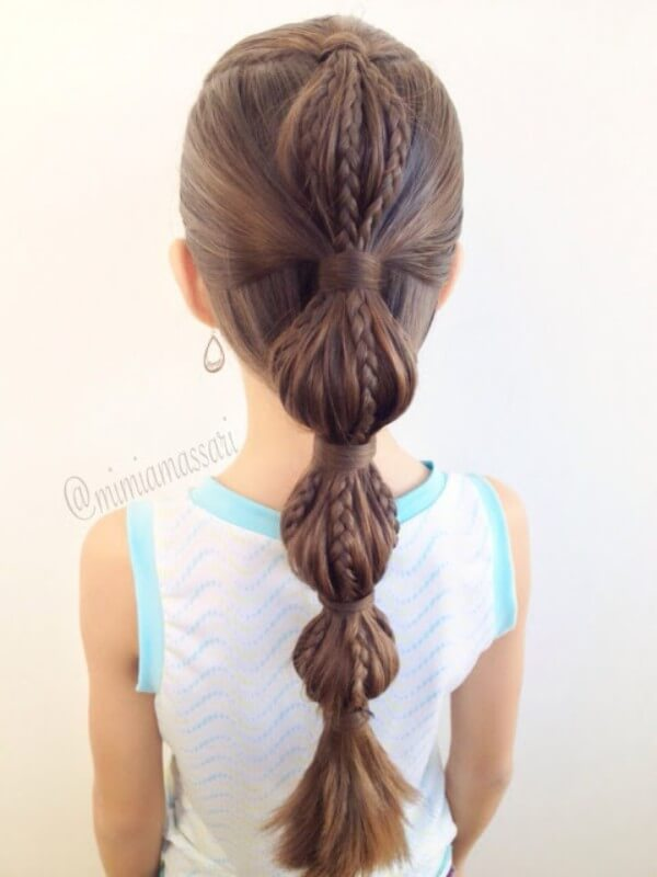 Bubble Ponytail with small braids Hairstyle