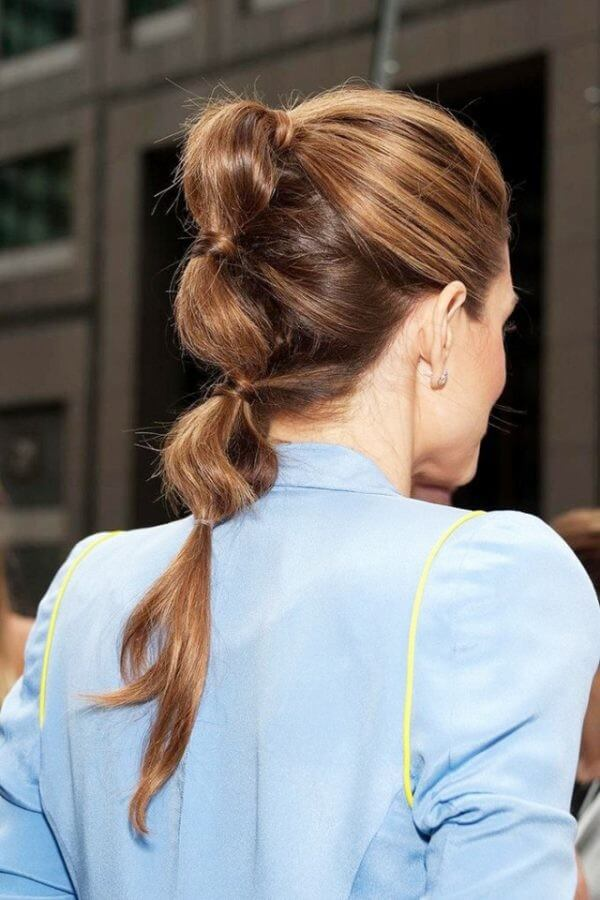 Bubble ponytail hairstyle, Office hair, Blue blazer, Long hair, Easy