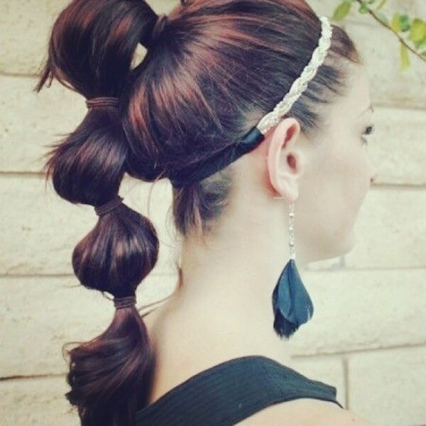 Bubble ponytail hairstyle, high ponytail with sections, Best Braided, Workout, Gym