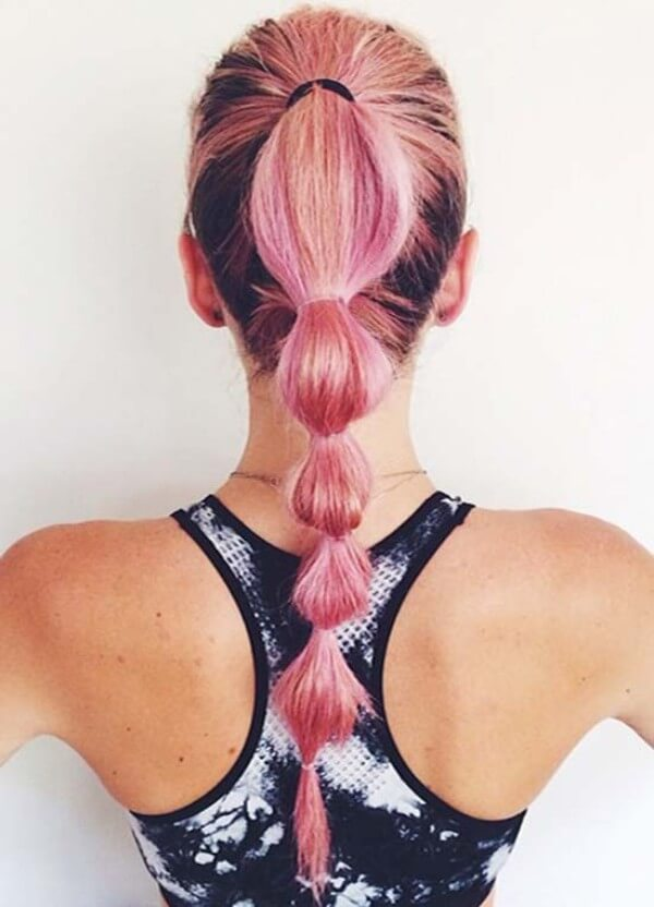 Sweat-Proof Workout Bubble ponytail hairstyle for long hair