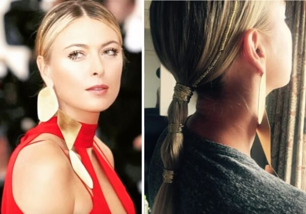 Russian professional tennis player maria sharapova very simple Bubble braid ponytail Hairstyle