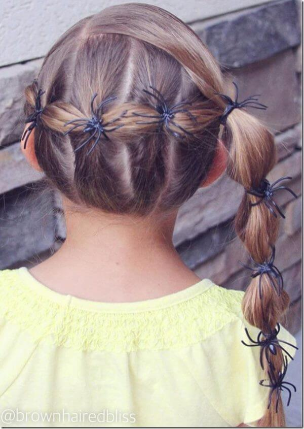 Easy halloween hair ideas Bubble braid ponytail Hairstyle for kids