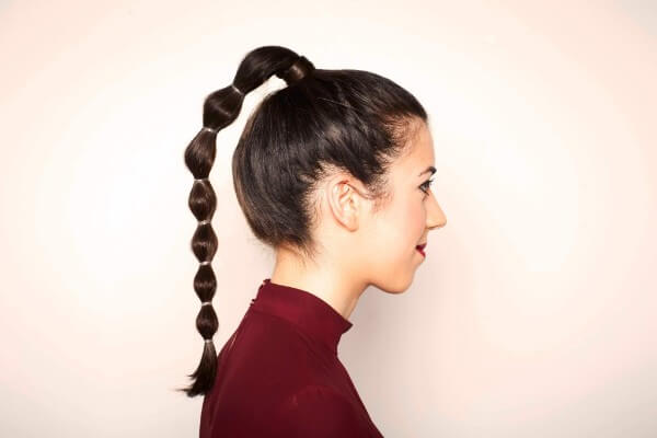 Make a funny high tail hairstyle, long hair, wedding, party, easy