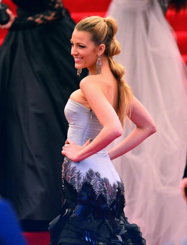 Blake lively met gala classy hairstyle, blue gown, long hair, beautiful dress, prom